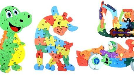 Vzdělávací dřevěné puzzle. Skvělá zábava pro děti. Z jedné strany jsou číslice a z druhé písmenka. Sestavováním si děti procvičují logické uvažování a představivost.