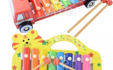 Roztomilé xylofony se zvířátky nebo ve tvaru autíčka, s úchytem i bez, z barevného lakovaného dřeva.
