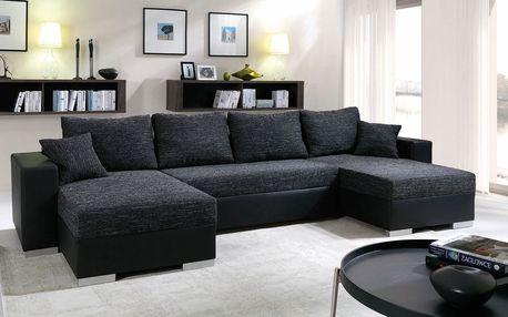 Rohová sedačka KENZO 2, černá/černá ekokůže