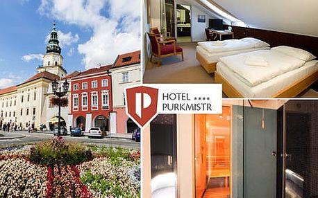 Oceněný Hotel Pukrmistr**** v historické Kroměříži s polopenzí a privátním vstupem do sauny pro 2 osoby