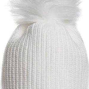 Bílá čepice Avanti s bílou bambulí