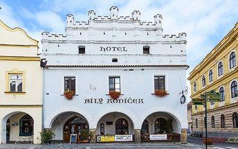 3–6denní pobyt pro 2 osoby se snídaněmi v hotelu Bílý koníček*** v Třeboni