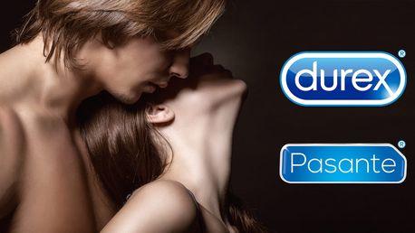 Balíčky kvalitních kondomů Durex nebo Pasante