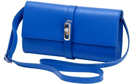 Modrá kožená kabelka Andrea Cardone 1040 - doprava zdarma!