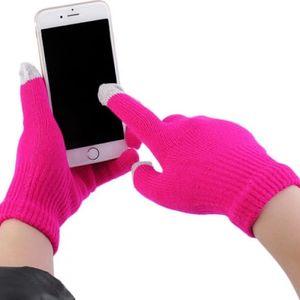 Dotykové rukavice pro smartphony v sytě růžové barvě - skladovka - poštovné zdarma