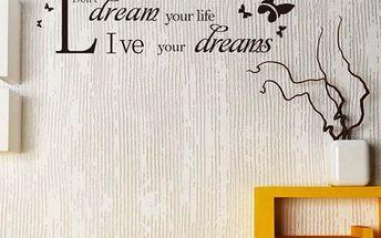 Samolepka na zeď - citát o snech