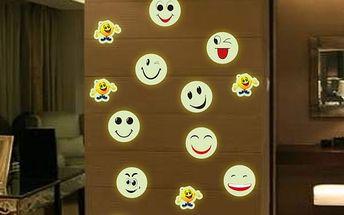 Samolepka na zeď - svítící smajlíci - poštovné zdarma