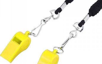 Žlutá plastová píšťalka pro trenéry - 2 kusy