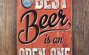 Plechová retro cedule - Nejlepší pivo je to otevřené - poštovné zdarma