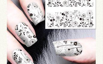 Nail art obtisky - černé ornamenty na šedivém podkladu - 10 listů - poštovné zdarma