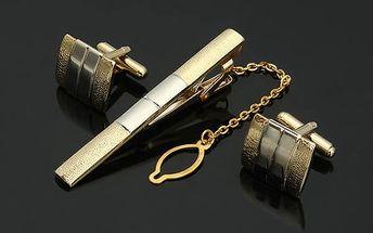 Manžetové knoflíčky se sponou na kravatu - poštovné zdarma
