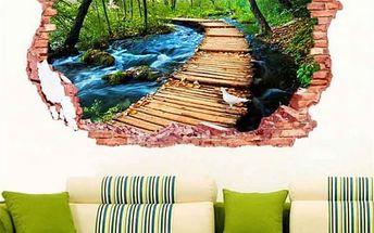 3D samolepka na zeď - Dřevěný most nad potokem