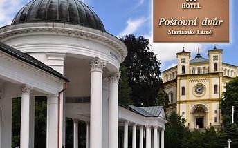 Lázeňský wellness pobyt pro dva v hotelu Poštovní dvůr***, s polopenzí, lahví vína, kávou, zákuskem.