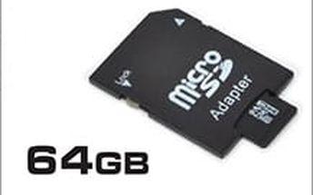 64 GB paměťová karta micro SD + adaptér s velmi širokým využitím za příznivou cenu 219 Kč!