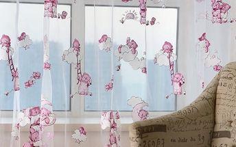 Záclonka s růžovými medvídky do dětského pokoje - poštovné zdarma