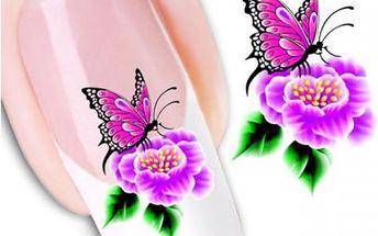 Nail art obtisky - motýl na květině - 3 listy