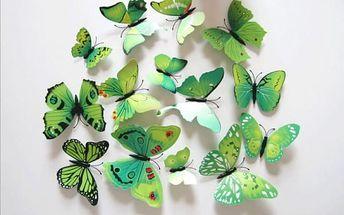 Samolepky zelených 3D motýlů na zeď