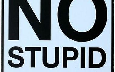 Plechová cedule - No Stupid People - poštovné zdarma