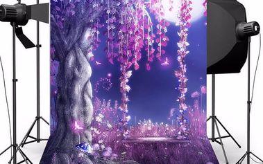 Fotopozadí do ateliéru - magická noční příroda - 2,1 x 1,5 m - poštovné zdarma