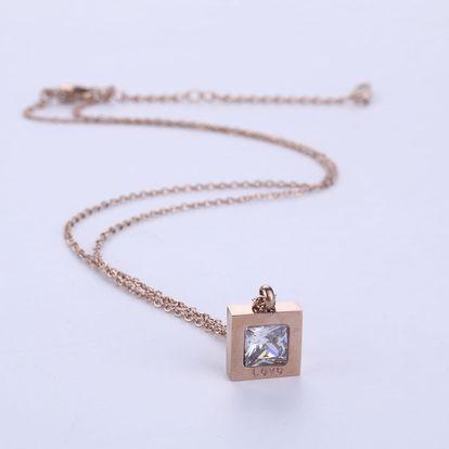 Fashion Icon Přívěsek s řetízkem Čtverec s krystalkem chirurgická ocel