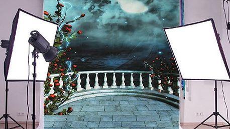 Fotopozadí do ateliéru - výhled na noční měsíc - 210 x 150 cm - poštovné zdarma