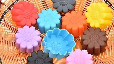Silikonová forma na výrobu muffinů - barevné slunečnice - 5 ks - poštovné zdarma