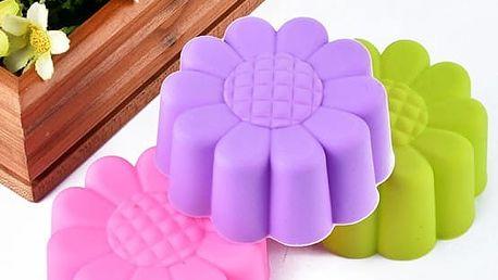 Silikonová forma na výrobu muffinů - barevné sedmikrásky - 10 ks