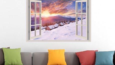 Samolepka na zeď - Západ slunce nad zasněženou vesničkou - poštovné zdarma