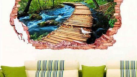 3D samolepka na zeď - Dřevěný most nad potokem - poštovné zdarma
