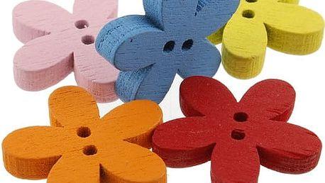 Květované barevné dřevěné knoflíčky - balení 100 ks - skladovka - poštovné zdarma