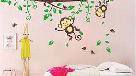 Samolepka na zeď - opičky na větvičce