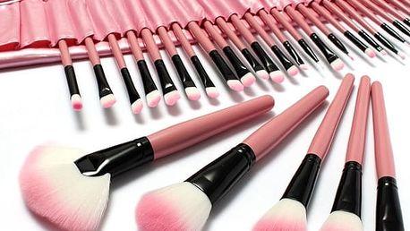 Sada růžových kosmetických štětců - 32 kusů - poštovné zdarma