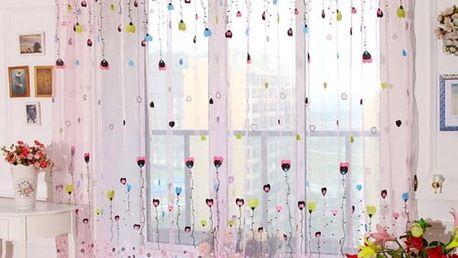 Záclona s motivy balonků a kytiček - poštovné zdarma