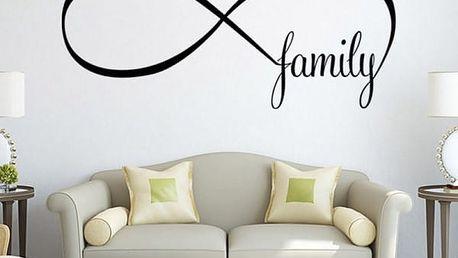 Samolepka na zeď - nápis Family se symbolem