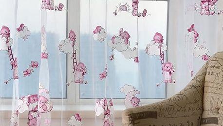 Záclonka s růžovými medvídky do dětského pokoje