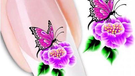 Nail art obtisky - motýl na květině - 3 listy - poštovné zdarma