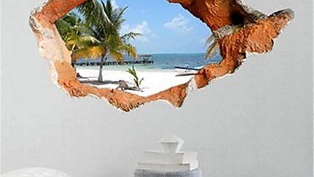 3D samolepka na zeď - výhled na pláž s palmou - poštovné zdarma