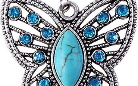 Tyrkysový vintage náhrdelník v podobě motýlka