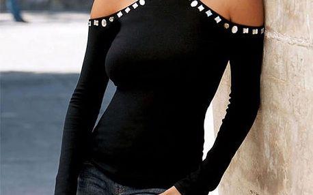 Černé tričko s odhalenými rameny Sparkle