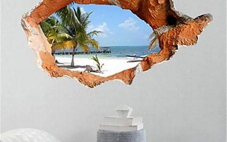 3D samolepka na zeď - výhled na pláž s palmou