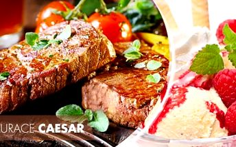 Steakové vepřové menu s oblohou a 3 omáčkami pro 2 osoby + na výběr dezerty, Praha 2