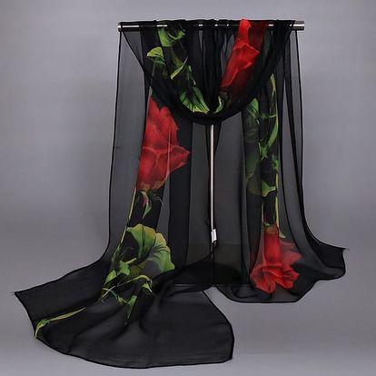 Dámský XXL šátek s květinami