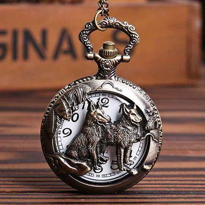 Vintage kapesní hodinky se dvěma vlky - dodání do 2 dnů
