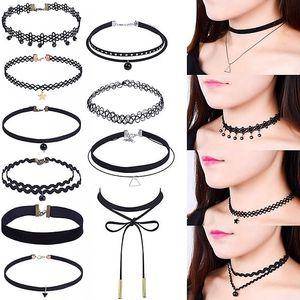 Sada 10 dívčích náhrdelníků v černé barvě - poštovné zdarma