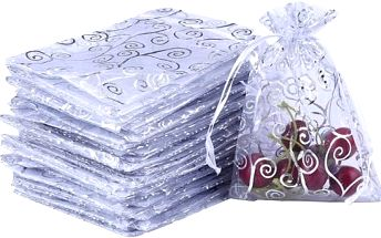 Sada bílých sáčků z organzy - 50 kusů - poštovné zdarma