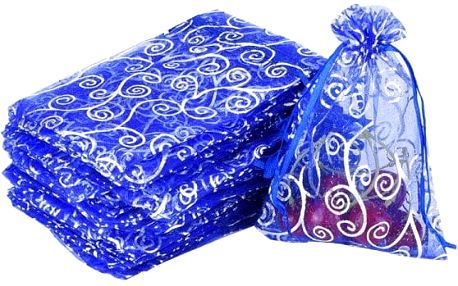 50 ozdobných pytlíků z organzy v modré barvě
