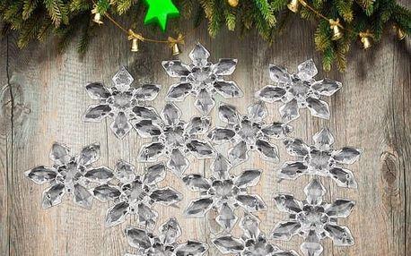 Vánoční dekorace - sněhová vločka - 12 ks - poštovné zdarma