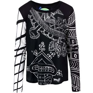 Černé tričko s bílým vzorem Desigual Yanise