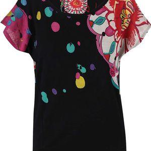 Černé tričko se širokými rukávy Desigual Keisi