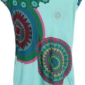 Zelené tričko s barevnými kruhy Desigual Delinne